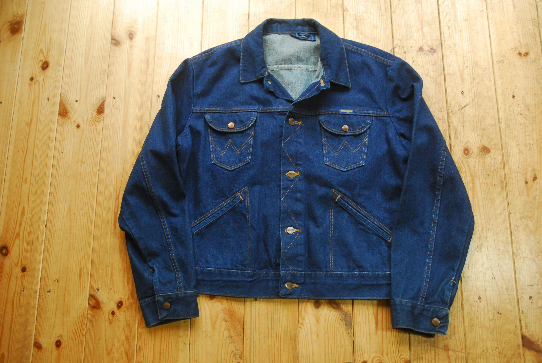 Vintage Dark Blue Denim Wrangler Jean Jacket Western Made In Etsy Denim Wrangler Jeans Blue Denim