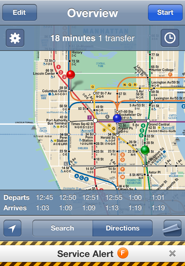 iTrans NYC Subway iPhone App Directions, Schedules