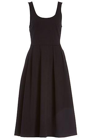 DAILYLOOK Pleated A-Line Midi Dress in Black XS - XL  973a14dcd