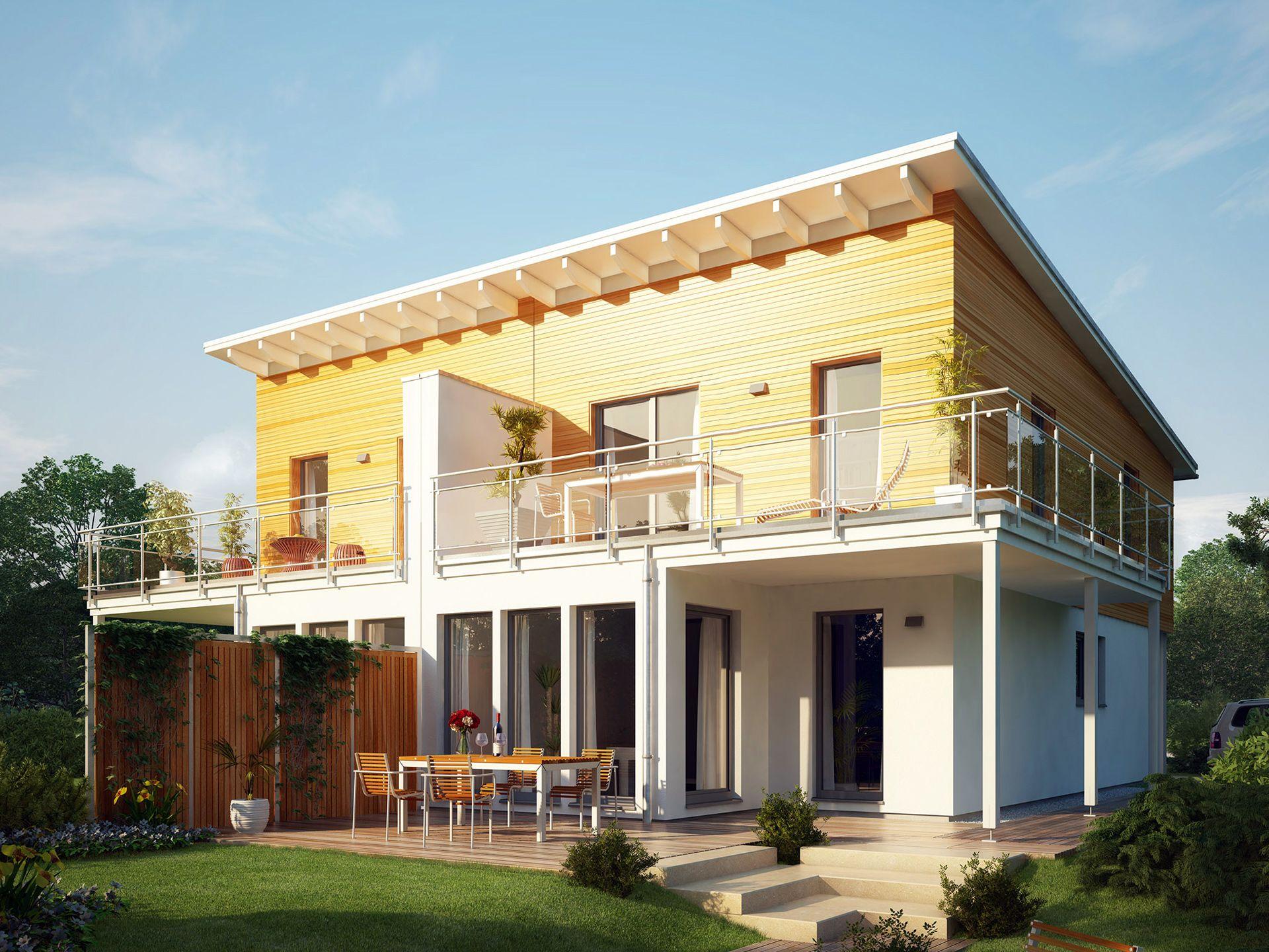 celebration 110 v5 l holzhaus von bien zenker traumhaftes doppelhaus mit wintergarten erker. Black Bedroom Furniture Sets. Home Design Ideas