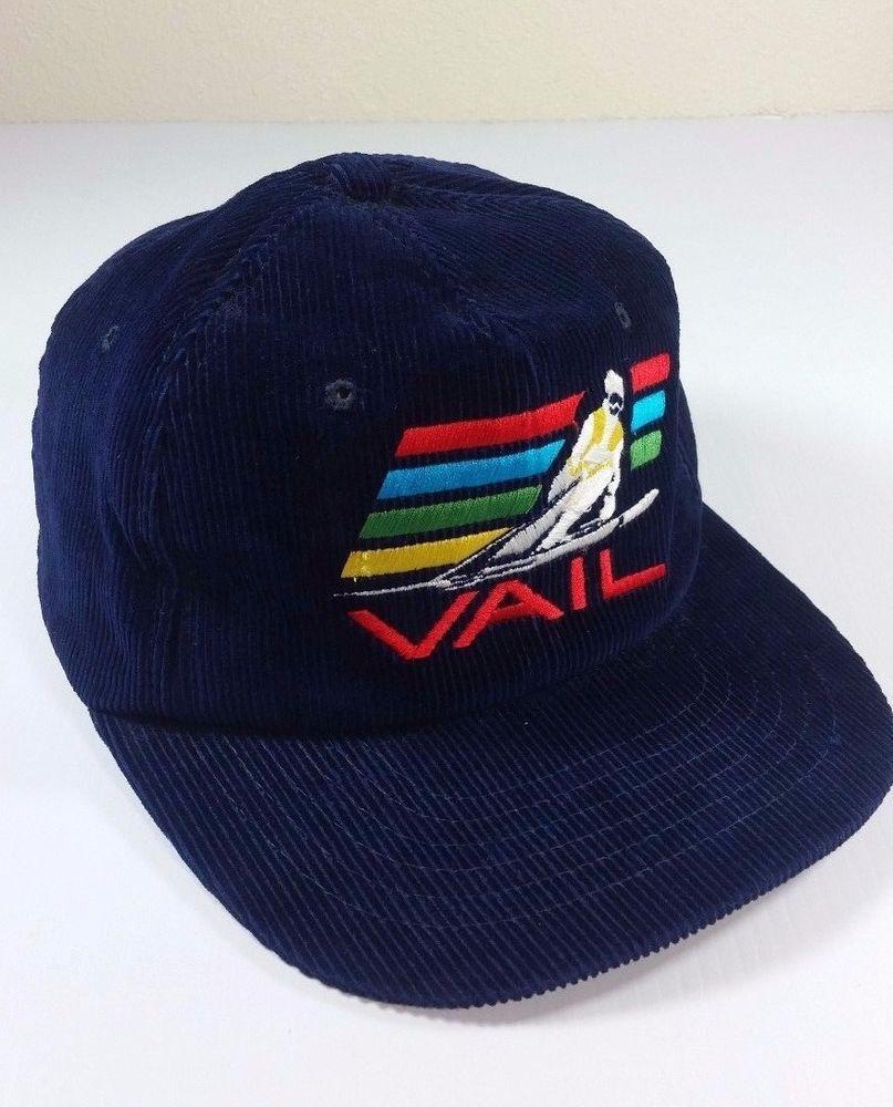 VAIL Ski Resort Blue Corduroy Strap Snap Back Cap VINTAGE Skier  Yupoogn   BaseballCap 823ab7891da