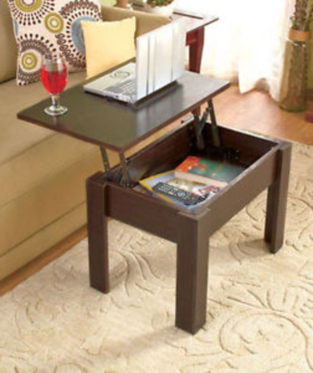 Brown LiftTop Coffee Table WStorage Computer Desk End Table TV