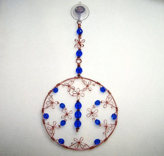 Beaded Suncatcher Wire Flower Copper Art Dark Blue Window Hanging ...