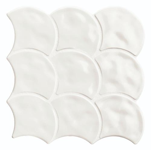 Carreau Ecailles Blanches Brillantes 30x30 Scale Gloss White