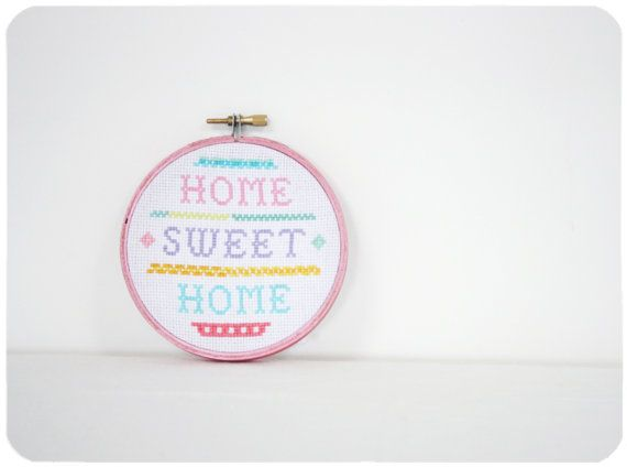 Embroidered home decor hoop  Home Sweet Home by moloco on Etsy, $16.50