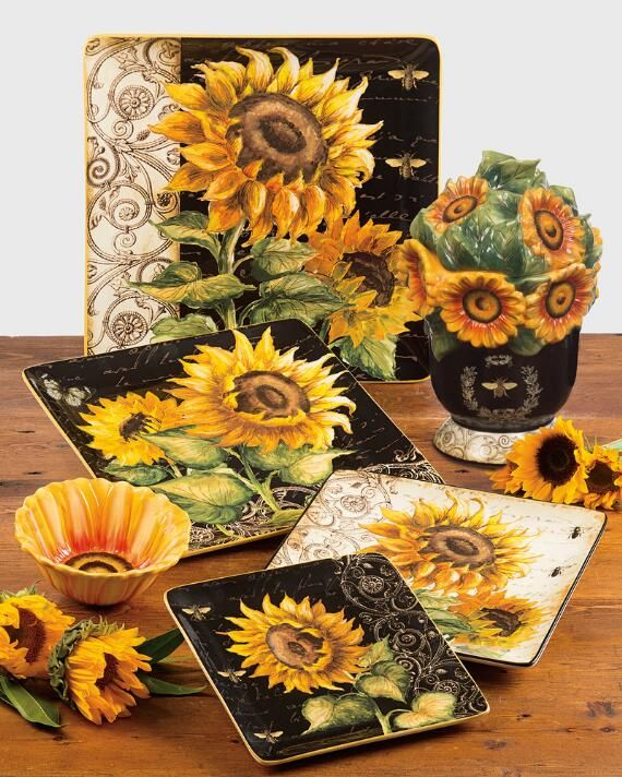 French Sunflowers Dinnerware Serveware Collection 54 99