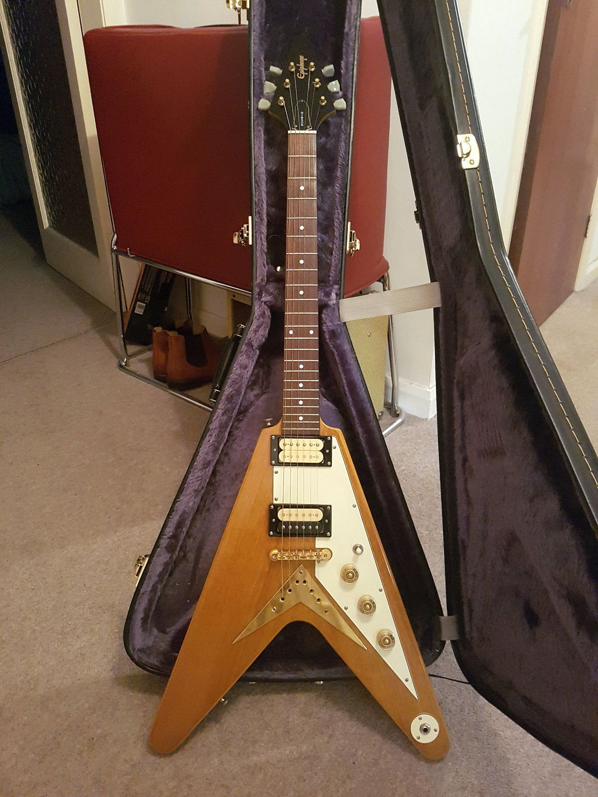 epiphone flying v limited edition korina 1999 dimarzio s abr 1 50 s wiring rare [ 1200 x 1600 Pixel ]