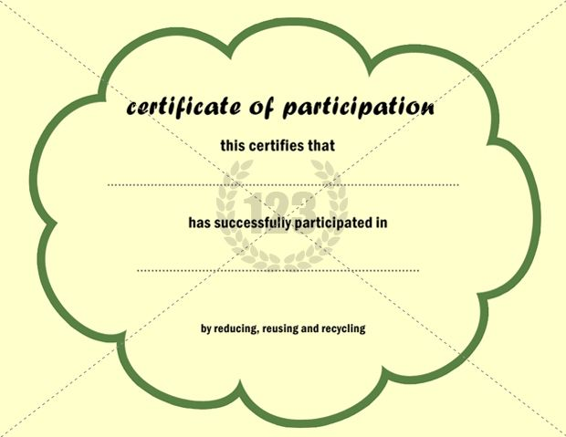 Participation Certificate Template  Participation Certification
