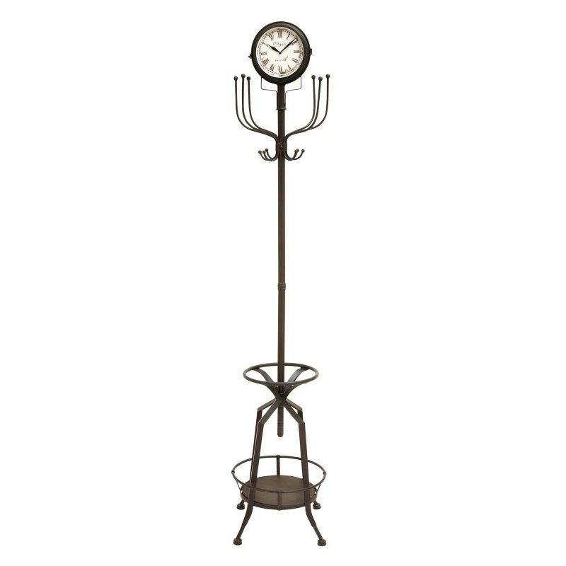 Wonderful Metal Standing Coat Rack With Umbrella Stand And Clock   77H In. Design
