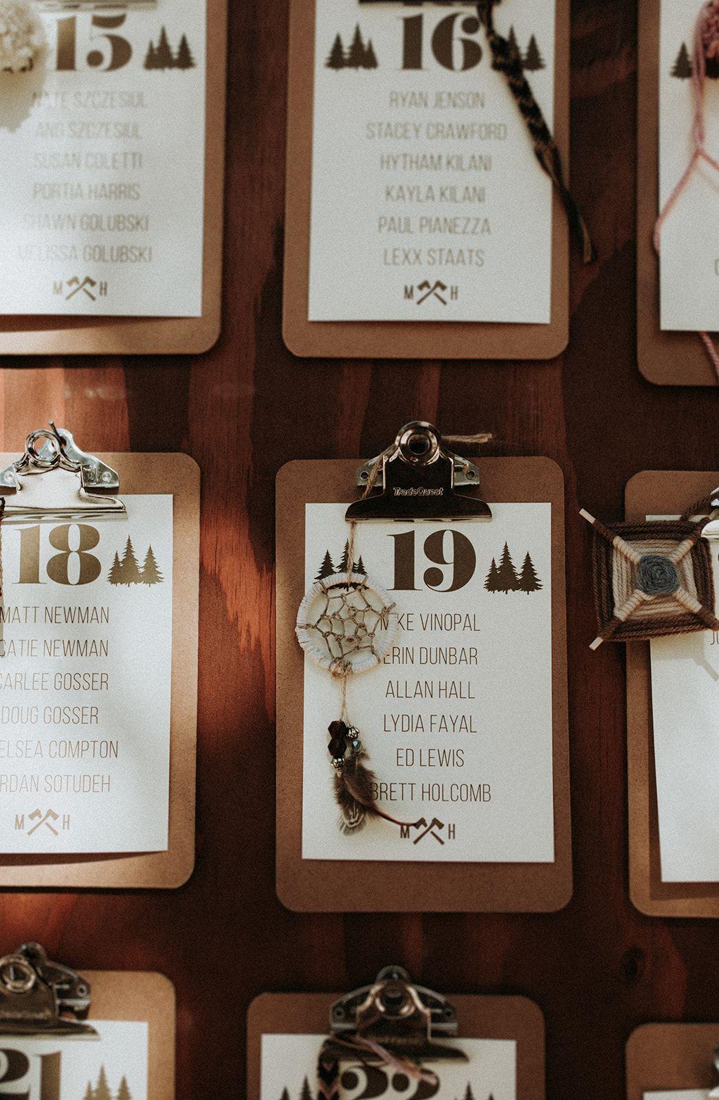 A Summer Camp Themed Wedding In Big Bear Seating Chart Wedding