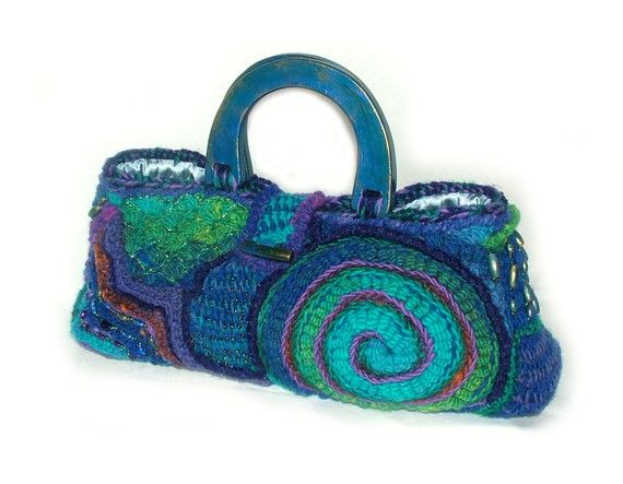 Handbag OOAK Freeform Crochet  Urban Blues by rensfibreart on Etsy, $240.00