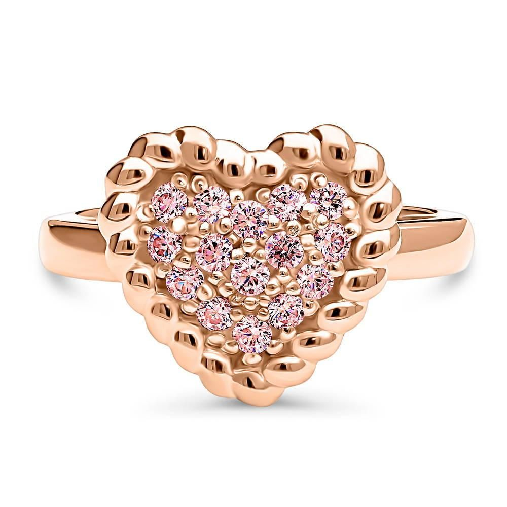73374c994 Rose Gold Plated Sterling Silver Heart Cable Ring Made with Swarovski  Zirconia