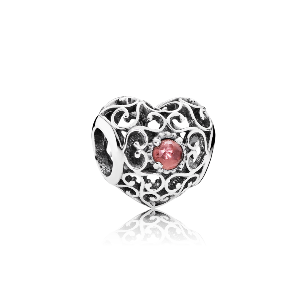 January Signature Heart Birthstone Charm - Pandora UK | PANDORA