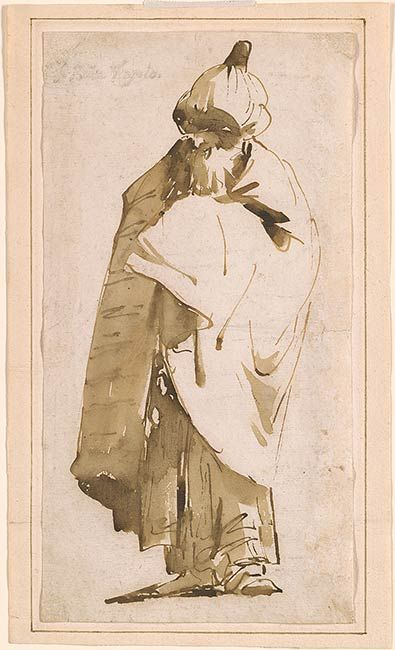 Giovanni Battista Tiepolo | Bearded Oriental in Turban and Cloak | Drawings Online | The Morgan Library & Museum
