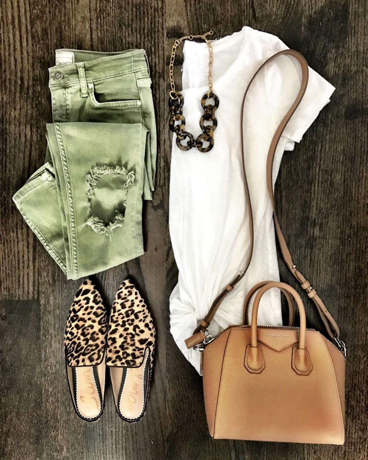 IG @mrscasual   White tee, green ripped jeans, leopard mules, brown crossbody bag, & tortoiseshell link necklace HighWaistedjeansoutfit is part of Fashion -