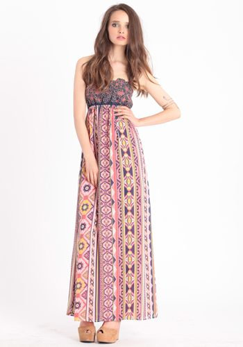 A boho-chic maxi, great for a casual beach day or summer shopping day. ^AY
