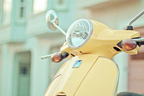 PRETTINESS: Luscious pastel colours |Pastel Yellow Vespa