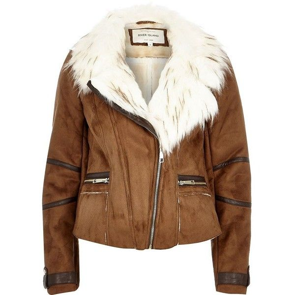 River Island Tan brown faux suede fitted biker jacket (€53) ❤ liked on Polyvore featuring outerwear, jackets, coats, river island, sale, tan biker jacket, brown motorcycle jacket, fitted jacket, tan moto jacket and asymmetrical zipper jacket
