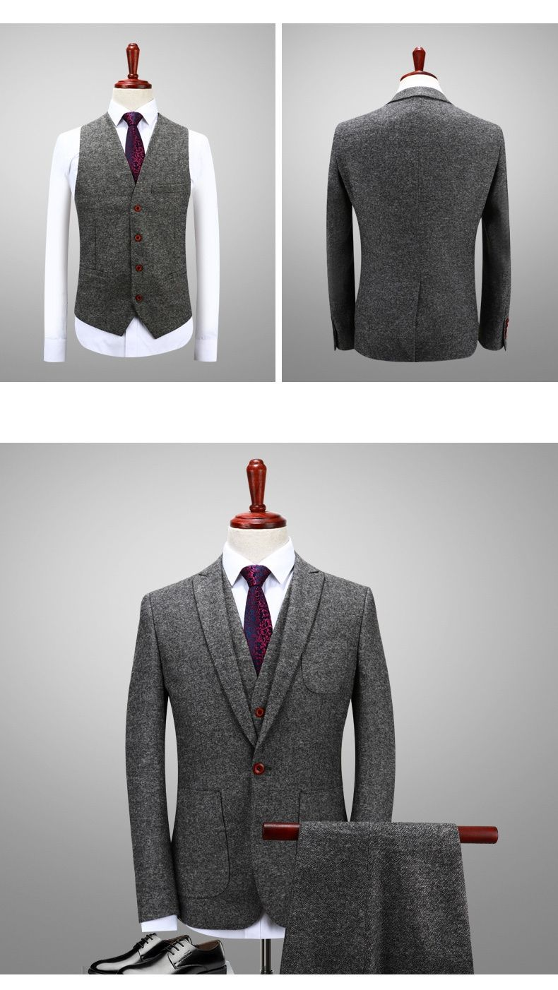 2018 Latest Coat Pant Designs Green Gray Tweed Suit Men Slim Fit
