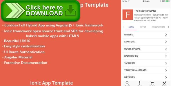 Free nulled Thefoody - Ionic Restaurant App Template download - delivery document template
