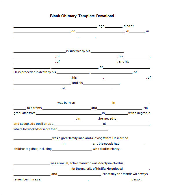 Fill In The Blank Obituary Template 7 Templates Example Templates Example Obituaries Template Obituaries Templates