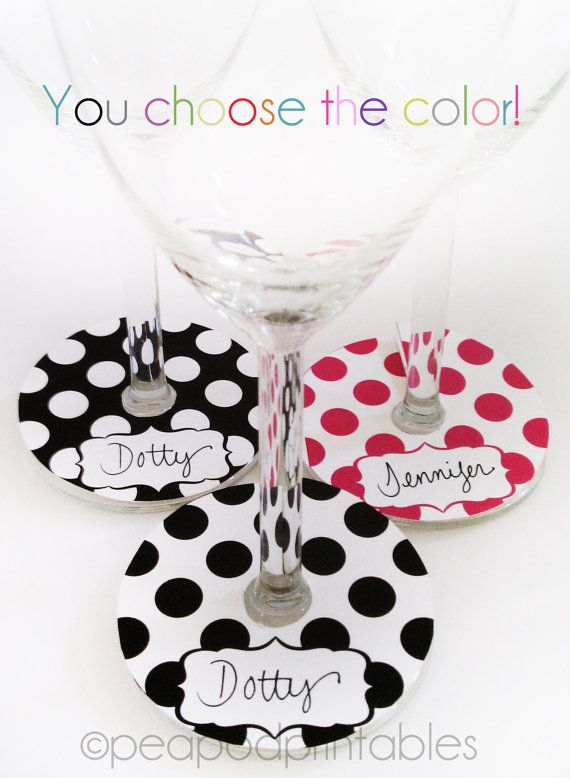 photograph relating to Printable Wine Glass Tags referred to as Printable Polka Dot Wine Gl Markers Tags through