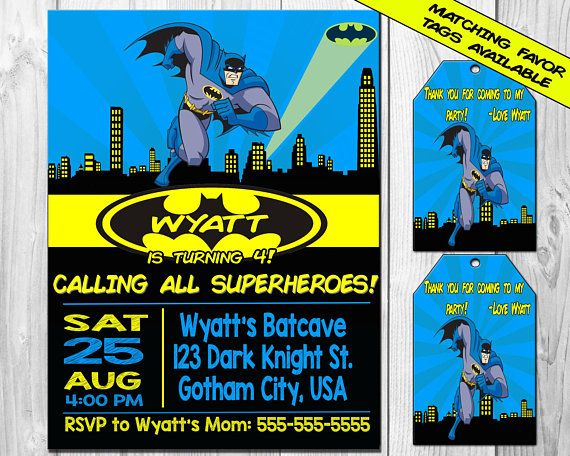 BATMAN Birthday Party Invitation Printable Batman Invitation