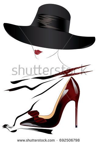 Sketch Of A Woman S Face In A Black Hat Red Lips Realistic Shoes