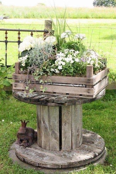 Kabeltrommel für die Gartendeko I Love It! Gartendeco - jardines con llantas