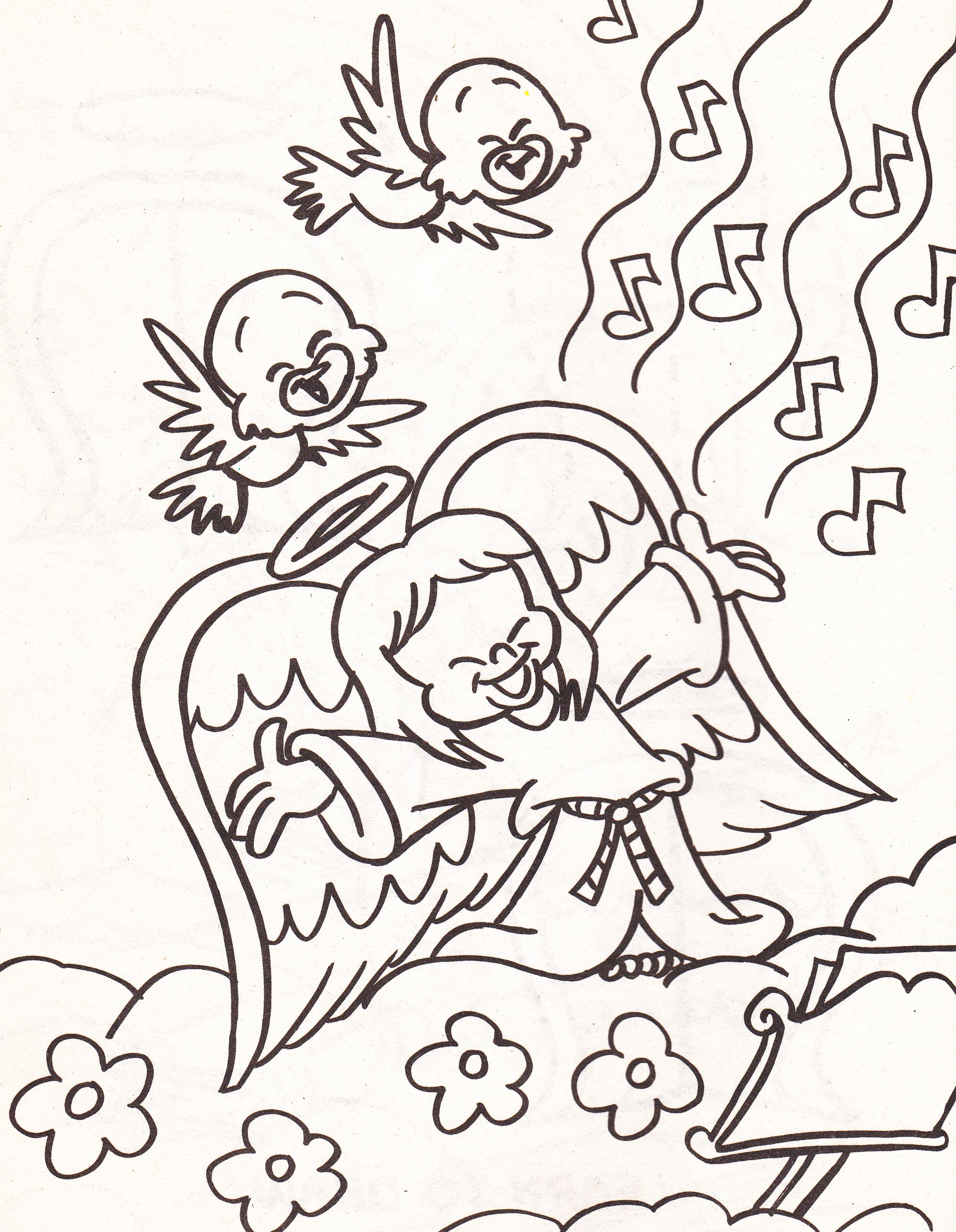 from an Angels coloring book - girl angel singing with birds in ...