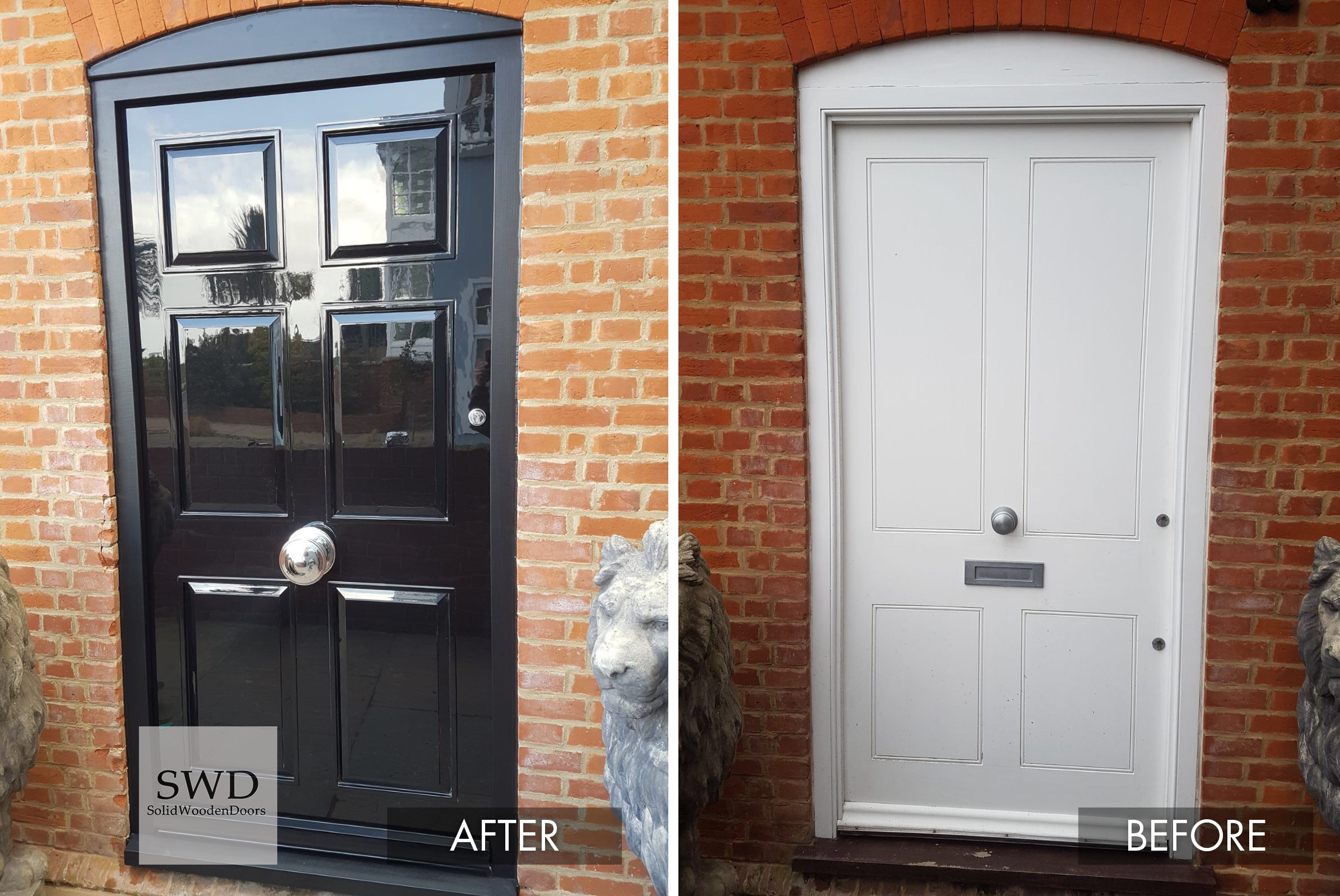 Swd Joinery Created This High Gloss Black 6 Panel Front Door In Our In House Workshop Our Client Wanted A Signif Exterior Front Doors Wooden Doors Panel Doors