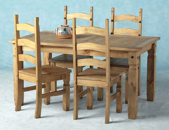 Corona 5\u0027 Wooden Dining Set with 4 chairs Home Sweet Home