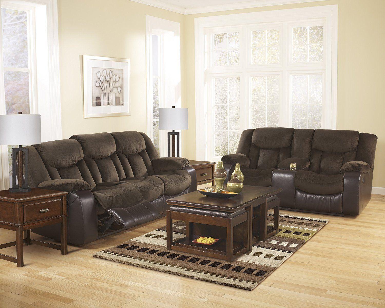 Best Amazon Com Tafton Contemporary Java Microfiber Reclining Sofa And Loveseat W Console 640 x 480
