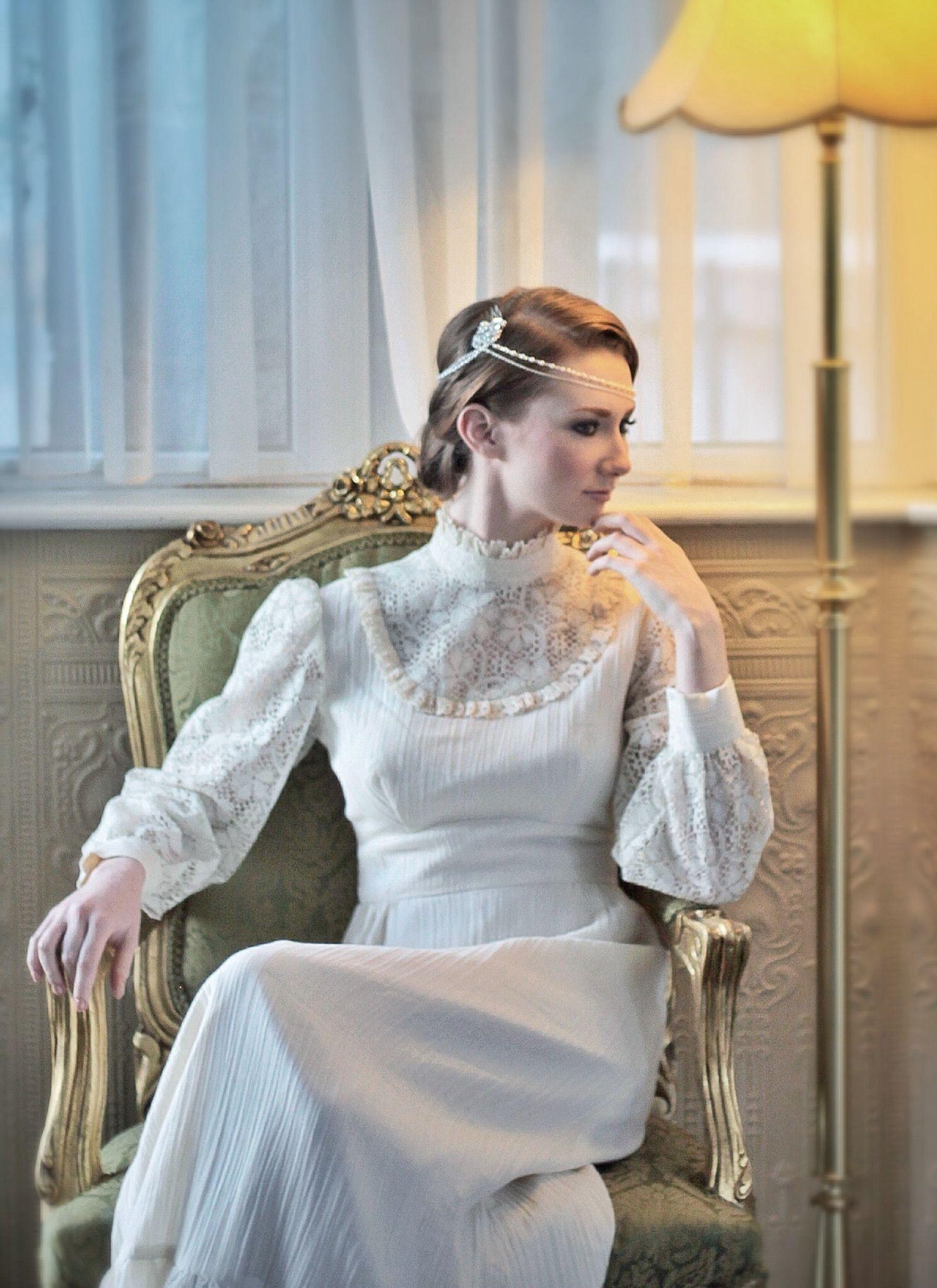 1970s edwardian style vintage wedding dress boho