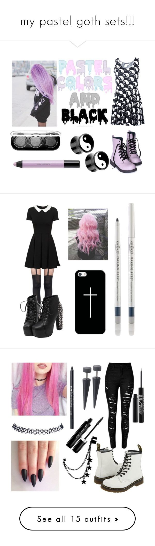 """""""my pastel goth sets!!!"""" by neverlandcth ❤ liked on Polyvore featuring Chicnova Fashion, shu uemura, MAKE UP FOR EVER, Pretty Polly, Casetify, Eyeko, Wet Seal, Marc Jacobs, Urban Decay and Dr. Martens"""