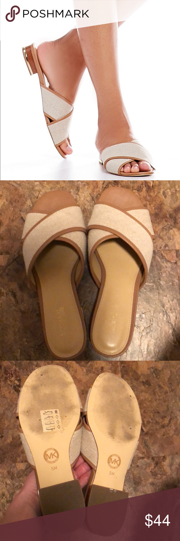 7cec03138e9f MICHAEL Michael Kors Shelly Slide MICHAEL Michael Kors Shelly Flat Block  Heel Sandal. Genuine leather