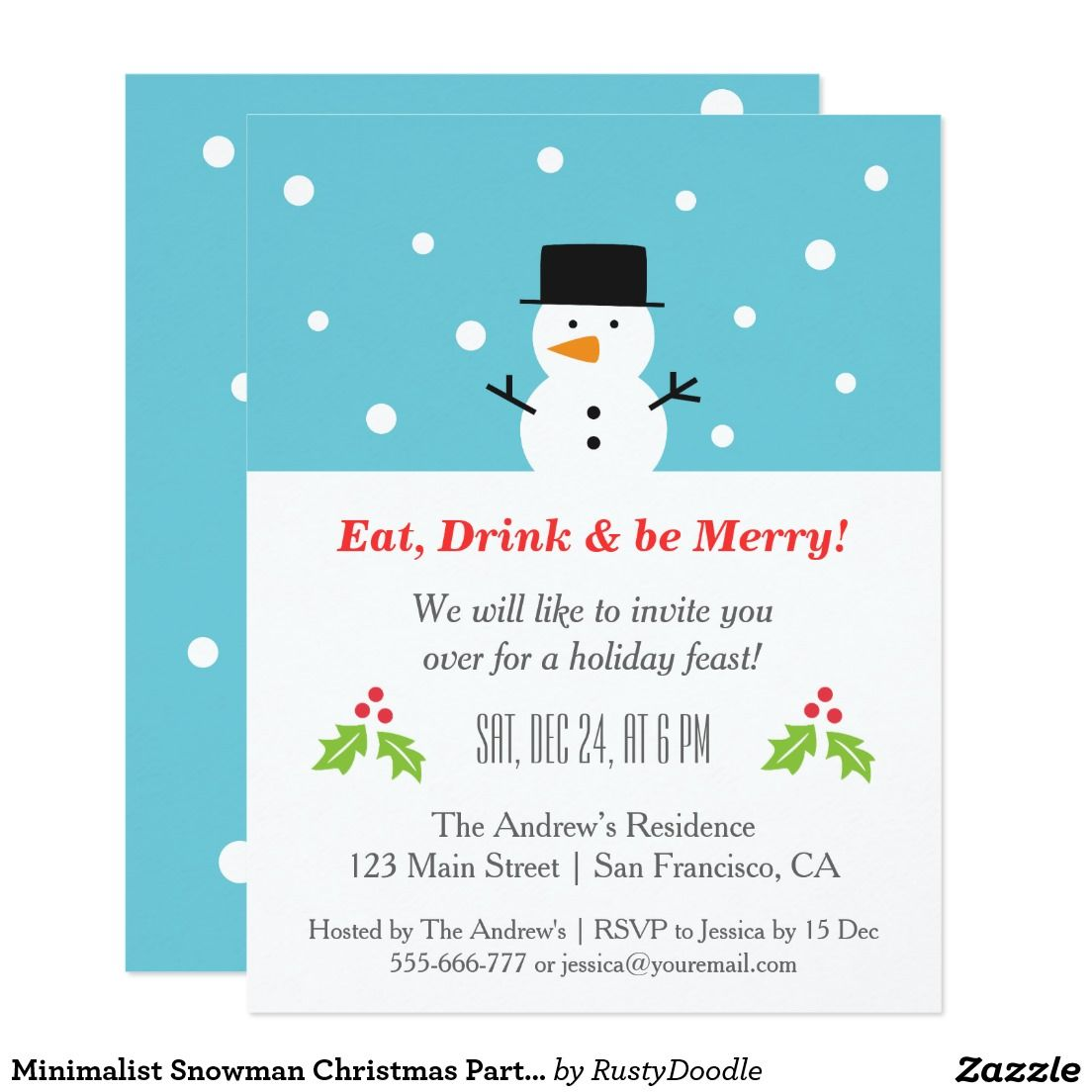 Minimalist Snowman Christmas Party Invitations | Christmas Party ...