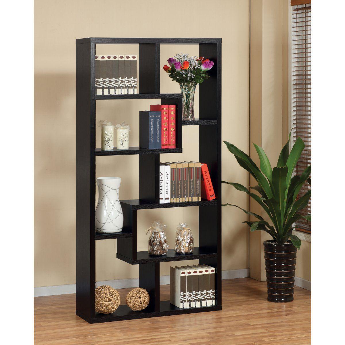 Enitial Lab Verena Contoured Leveled Display Cabinet/ Bookcase - Black