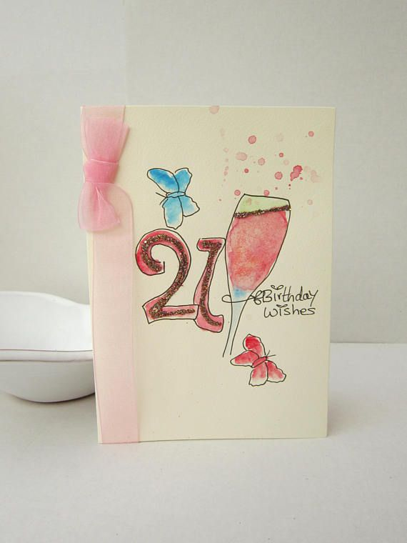 21st Birthday Card Watercolour Daughter