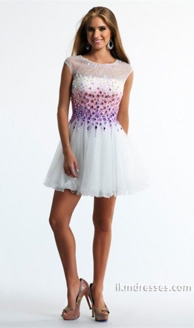 015 Beautiful Graduation/Prom Dresses Bateau A Line Short/Mini ...