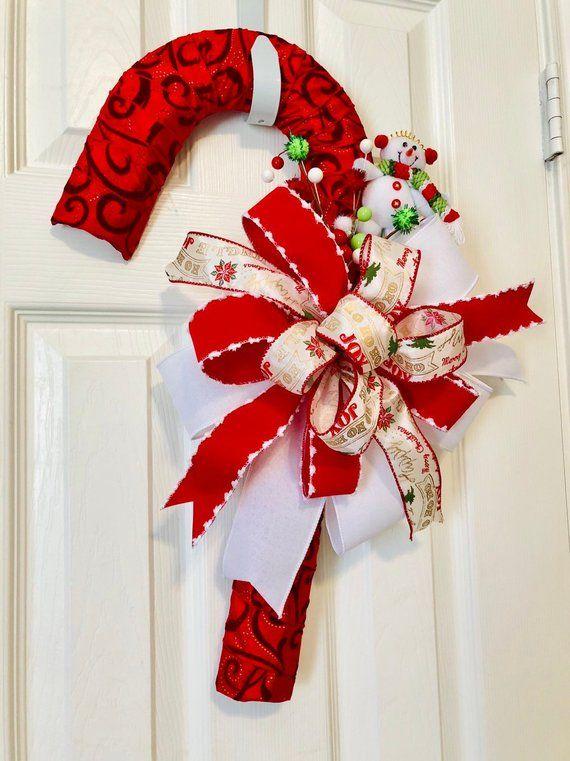 Photo of Candy Cane Wreath (18″), Winter Door Wreath, xmas Wreaths, Snowman Wreath