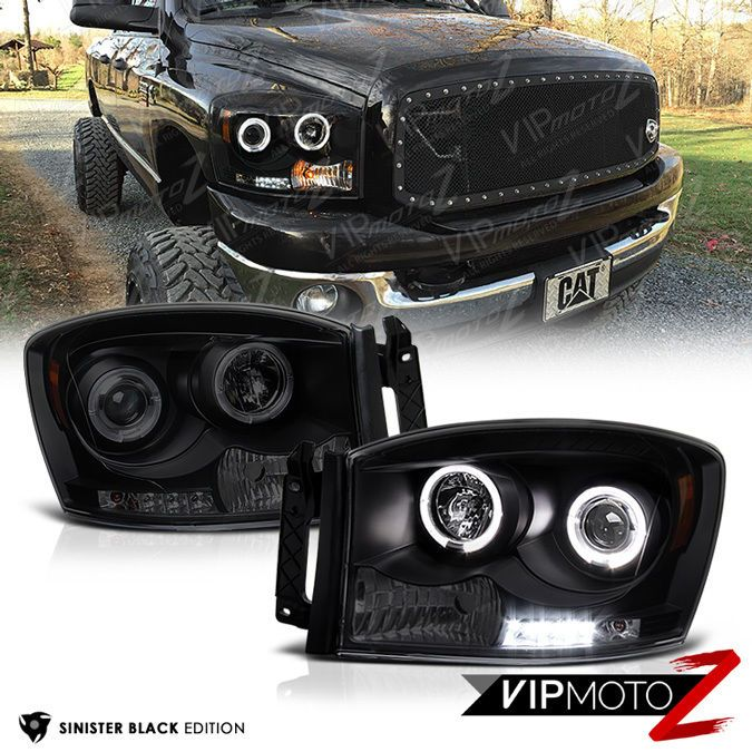 2006 2008 Dodge Ram 1500 2500 3500 Sinister Black Led Halo Projector Headlights Dodge Ram 1500 Dodge Truck Accessories Dodge Ram