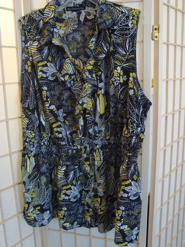 Pretty Sz 3X Blue Diamond Long Button Front Black & Yellow Ruffled Top #BlueDiamond #ButtonDownShirt