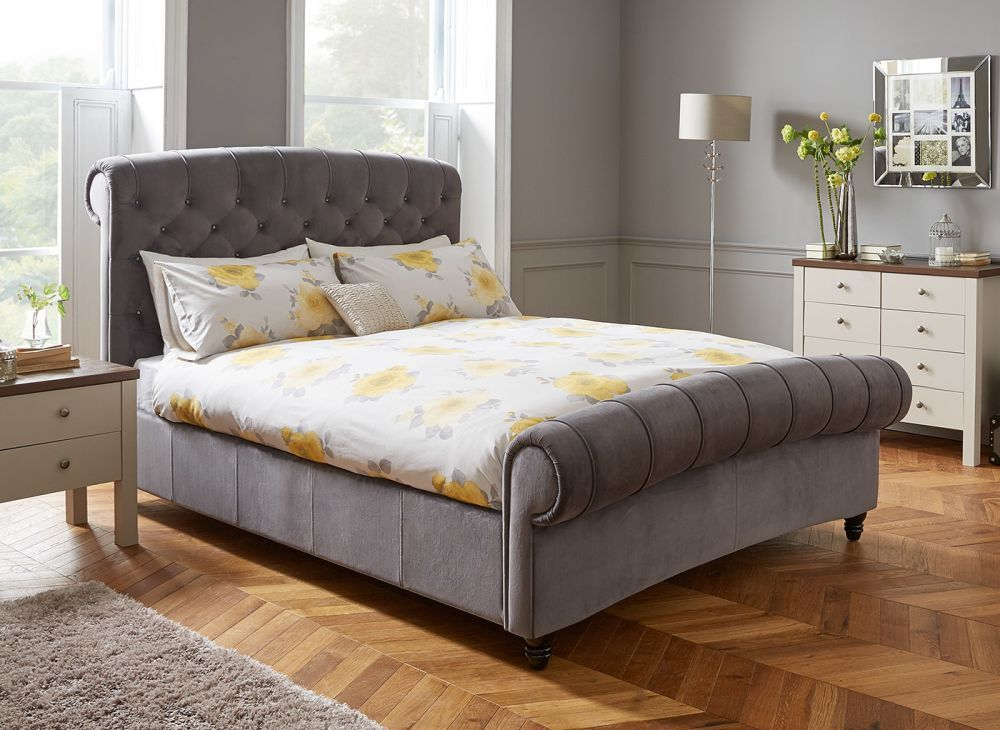 Ellis Dark Grey Velvet Upholstered Bed Frame Dreams
