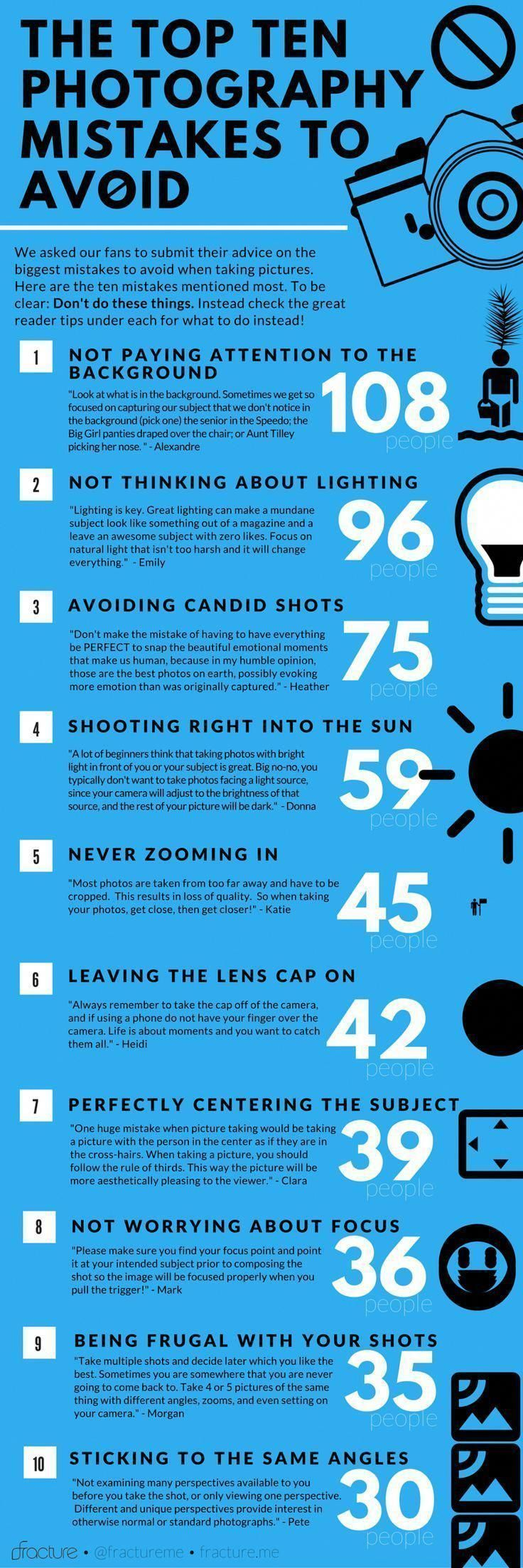 Fracture S Awesome Infographic Of Photography Mistakes To Avoid Plus 58 More Tips On The Site Photography Jobs Photography 101