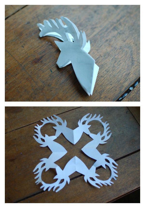 printable reindeer snowflake template  5+ cool snowflake patterns to make with kids. Or not ...