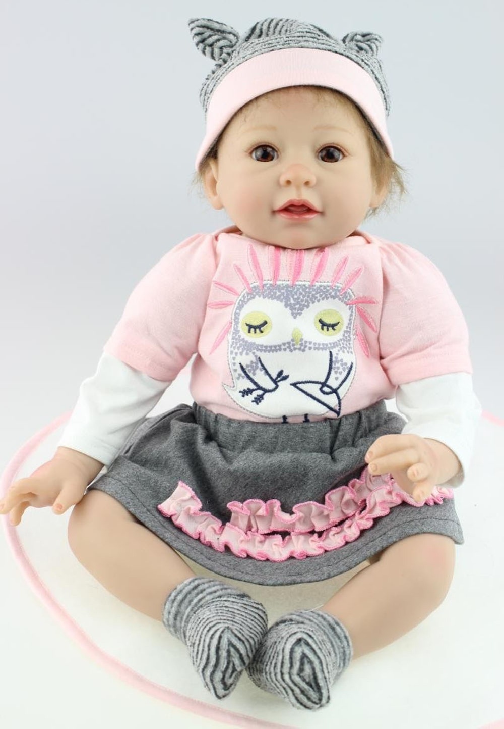 "109.00$  Watch now - http://alik6m.worldwells.pw/go.php?t=32592355514 - ""22"""" Lifelike Reborn Baby Alive Silicone Girl Doll Owl Kits Collectible Vinyl Toys Gift Women Nursery Training"""