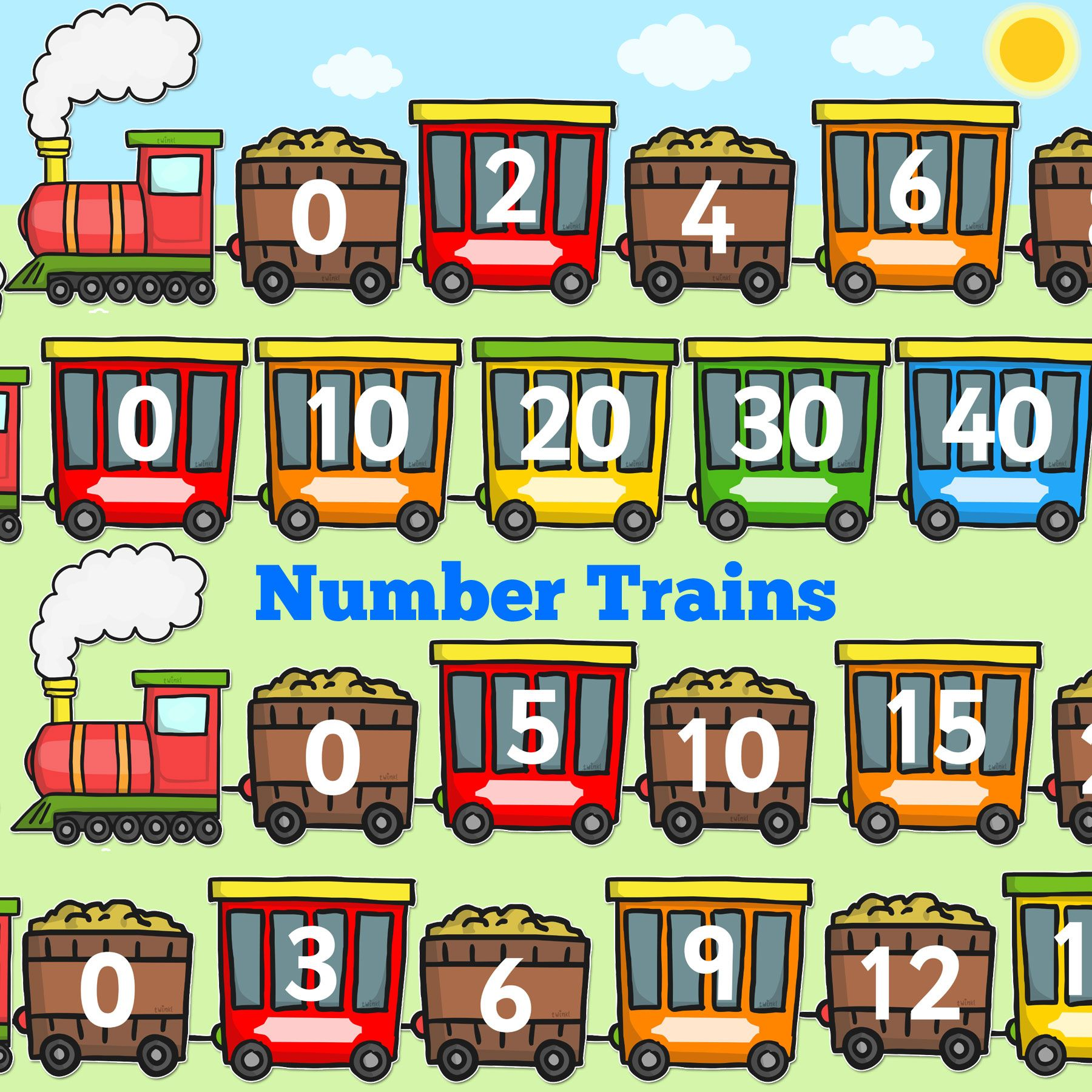 Number Trains Counting In 2s 3s 5s And 10s Perfect