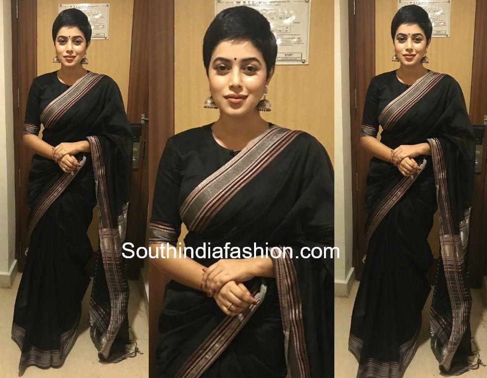 Poorna In A Black Saree South India Fashion Black Saree Black Cotton Saree Saree Look
