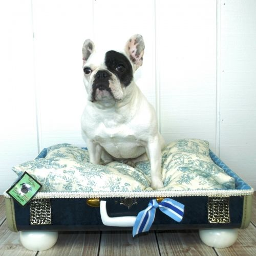 Pet suitcase bed blue toile.  What a cute idea to upcycle an old suitcase!